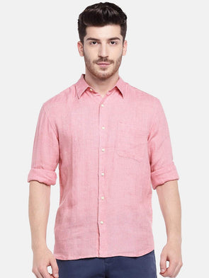Cottonworld Men's Shirts Men's Linen Pink Regular Fit Shirts