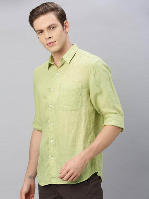 Men's Pista Green Pure Linen Regular Fit Shirt Cottonworld Men's Shirts