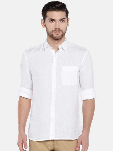 Cottonworld Men's Shirts Men's Linen White Regular Fit Shirt