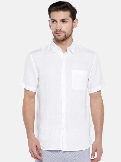 Men's White Pure Linen Regular Fit Shirt Cottonworld Men's Shirts