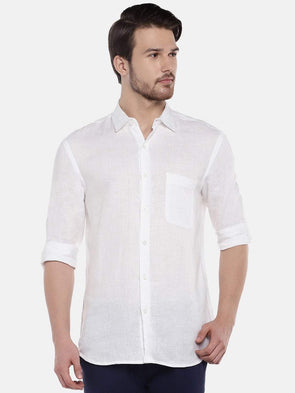 Cottonworld Men's Shirts Men's Linen White Regular Fit Shirts