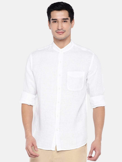 Men's Linen White Regular Fit Shirts Cottonworld Men's Shirts