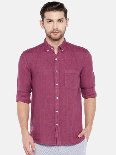 Men's Linen Wine Regular Fit Shirt Cottonworld Men's Shirts