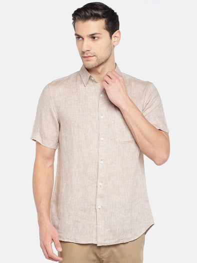 Men's Linen Woven Beige Regular Fit Shirts Cottonworld Men's Shirts