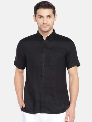 Cottonworld Men's Shirts Men's Linen Woven Black Slim Fit Shirts