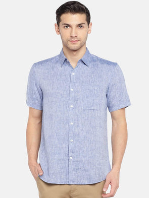 Men's Linen Woven Blue Regular Fit Shirts Cottonworld Men's Shirts
