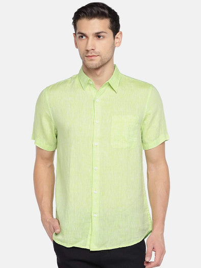 Men's Linen Woven Green Regular Fit Shirt Cottonworld Men's Shirts