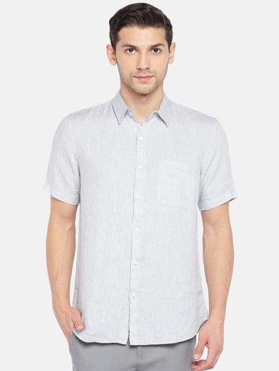 Men's Linen Woven Grey Regular Fit Shirts Cottonworld Men's Shirts