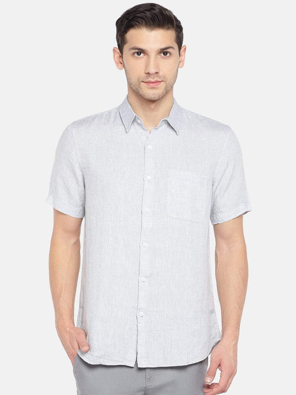 Men's Linen Woven Grey Regular Fit Shirt Cottonworld Men's Shirts