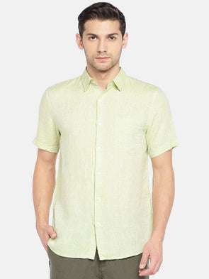 Men's Linen Woven Lime Regular Fit Shirts Cottonworld Men's Shirts