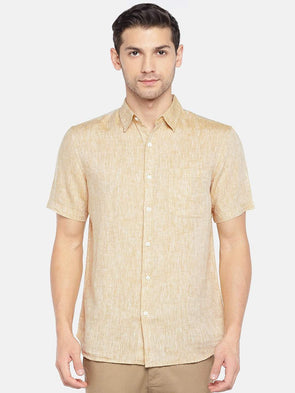 Men's Linen Woven Mustard Regular Fit Shirts Cottonworld Men's Shirts