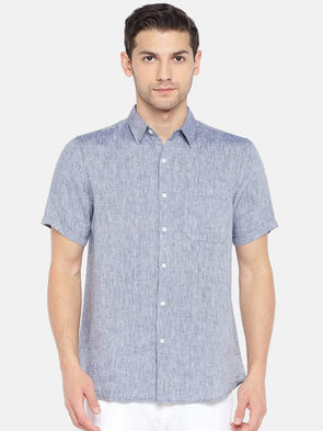 Men's Linen Woven Navy Regular Fit Shirts Cottonworld Men's Shirts