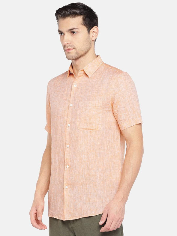Men's Linen Woven Peach Regular Fit Shirt Cottonworld Men's Shirts