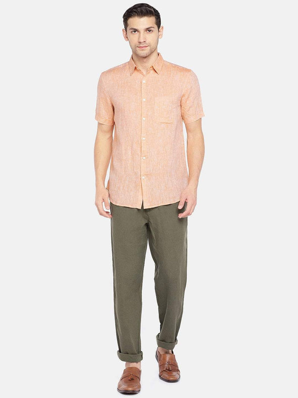 Men's Linen Woven Peach Regular Fit Shirts Cottonworld Men's Shirts