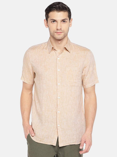 Men's Linen Woven Sand Regular Fit Shirts Cottonworld Men's Shirts