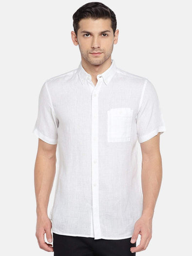 Men's Pure Linen  White Short Sleeve Slim Fit Shirt Cottonworld Men's Shirts