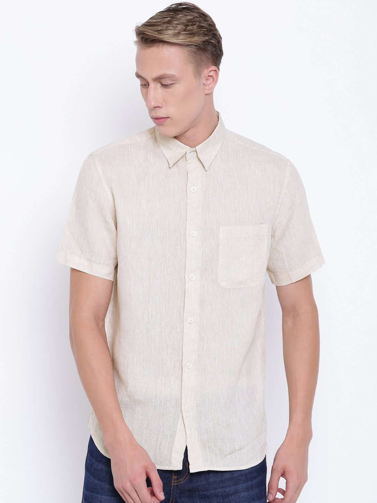 Cottonworld Men's Shirts MEN'S NATURAL PURE LINEN SHORT SLEEVE REGULAR FIT SHIRT