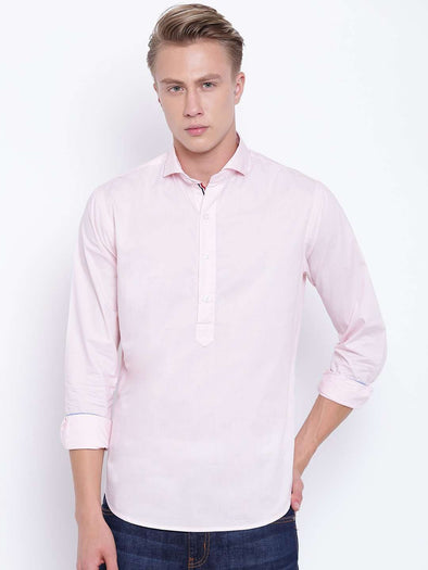 Men's Pink Slim Fit Pull On Shirt With Contrast Tape Cottonworld Men's Shirts