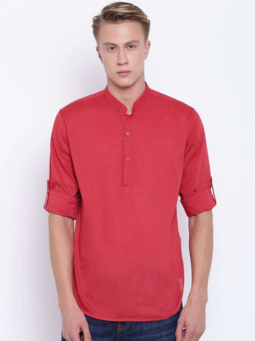 Cottonworld Men's Shirts MEN'S PULL ON RED BAND COLLAR ROLL UP SLEEVE REGULAR FIT KURTA SHIRT