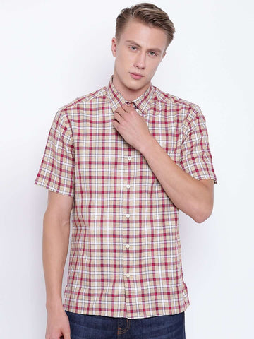 Cottonworld Men's Shirts MEN'S  SHORT SLEEVE REGULAR FIT RED CHECK SHIRT