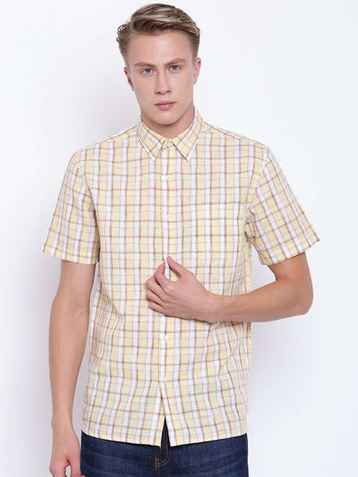 Cottonworld Men's Shirts MEN'S  SHORT SLEEVE REGULAR FIT YELLOW CHECK SHIRT