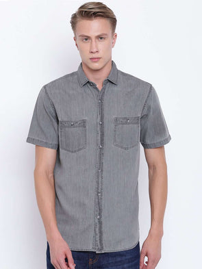 Cottonworld Men's Shirts MEN'S SHORT SLEEVE SLIM FIT 2 POCKET WASHED DENIM SHIRT