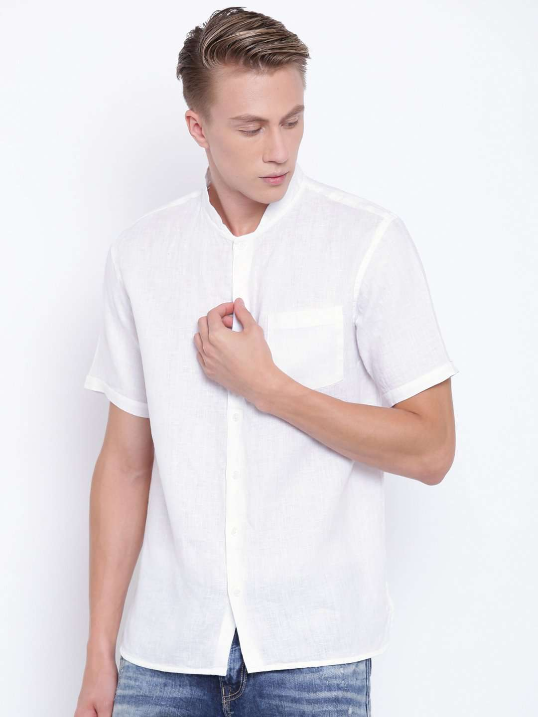 White Woven Shirts Mens Casual Wear Regular Fit Woven Shirts