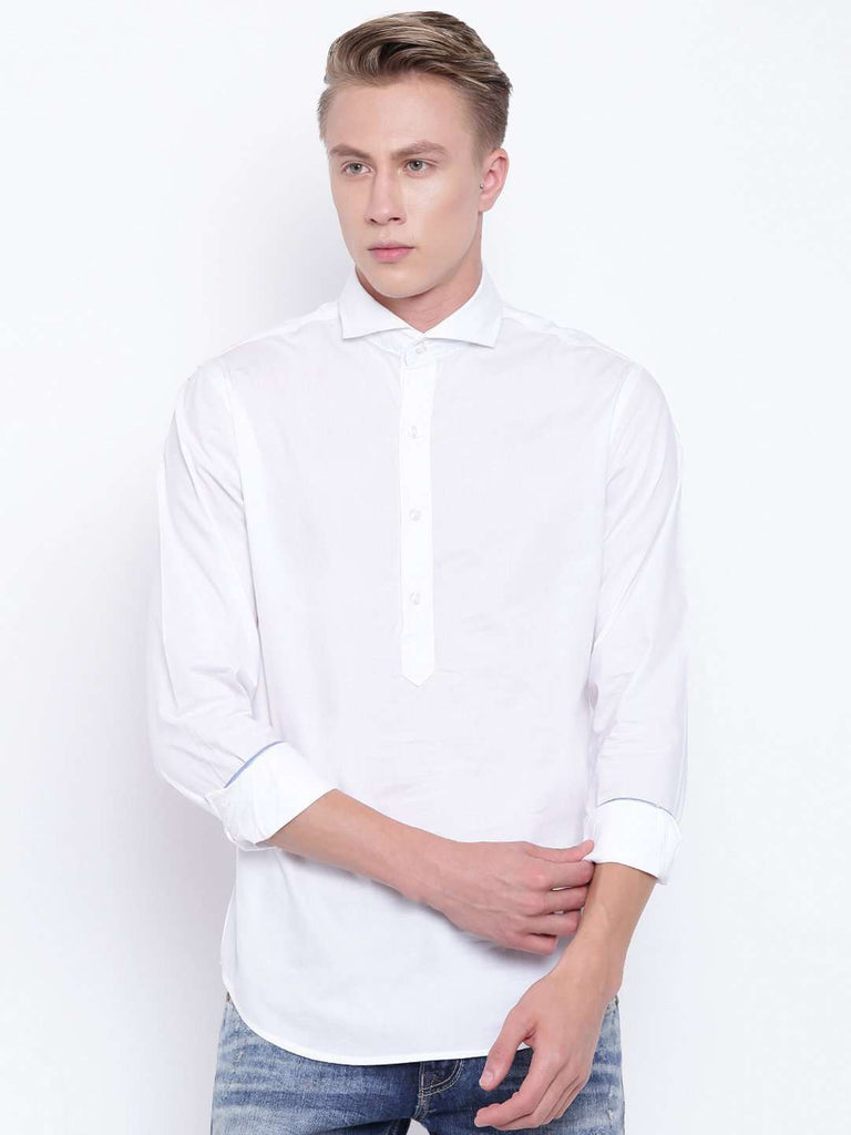 Cottonworld Men's Shirts MEN'S WHITE SLIM FIT PULL ON SHIRT WITH CONTRAST TAPE