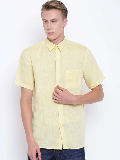 Cottonworld Men's Shirts MEN'S YELLOW PURE LINEN SHORT SLEEVE REGULAR FIT SHIRT