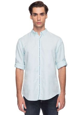 Cottonworld Men's Shirts Men Solid Sky Blue Shirt