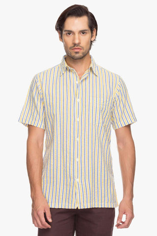 Cottonworld Men's Shirts Men Yellow Regular Stripes Woven Shirts