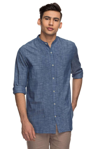 Cottonworld Men's Shirts Mens Full Sleeve Regular Fit 100% Cotton Shirts - Blue