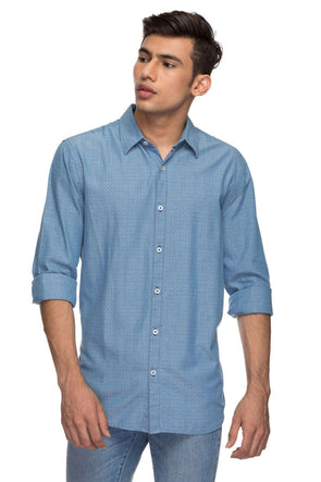 1b0367167a Cottonworld Men s Shirts Mens Full Sleeve Regular Fit 100% Cotton Shirts -  Blue
