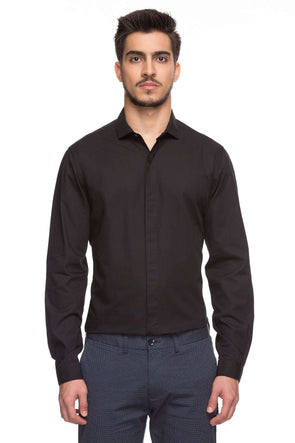 Cottonworld Men's Shirts Mens Full Sleeves Slim Fit 100% Cotton Solid Shirts