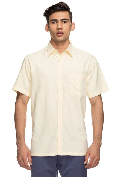 Cottonworld Men's Shirts Mens Half Sleeve Regular Fit 100% Cotton Shirts - Lemon