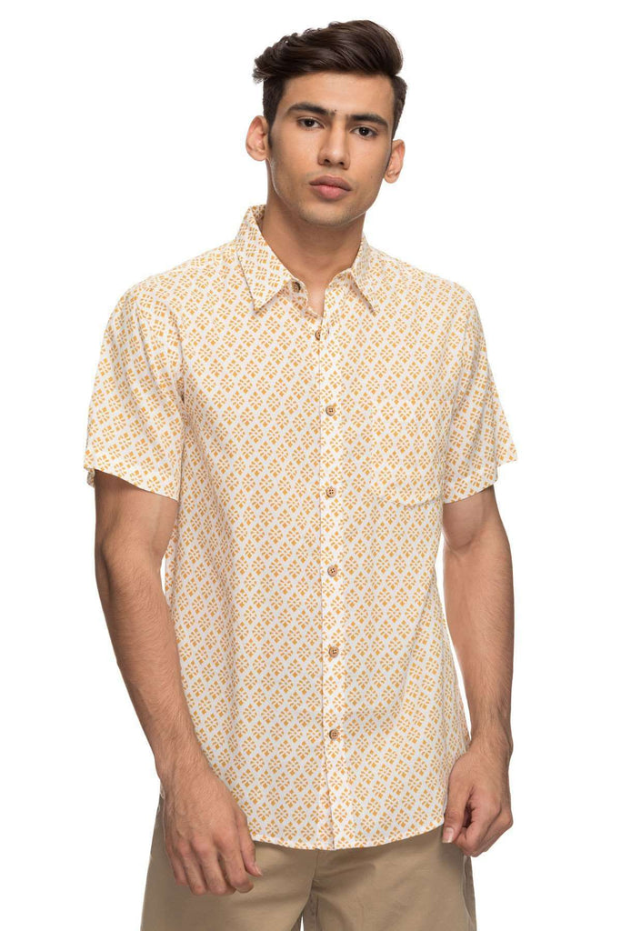 Cottonworld Men's Shirts Mens Half Sleeve Regular Fit 100% Cotton Shirts - Mustard