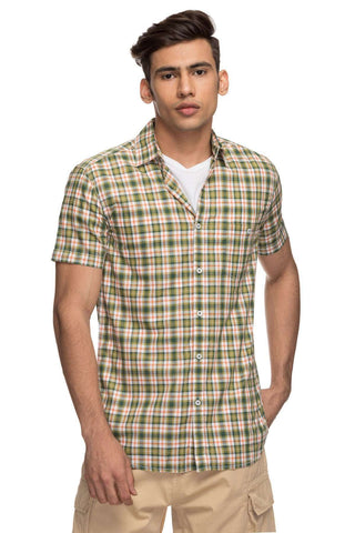 Cottonworld Men's Shirts Mens Half Sleeve Regular Fit 100% Cotton Shirts - Olive