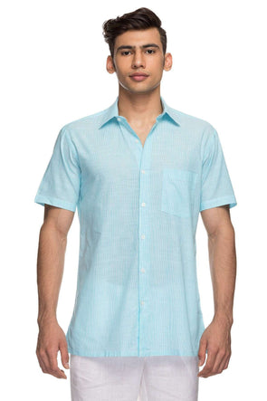 Cottonworld Men's Shirts Mens Half Sleeve Regular Fit 100% Cotton Shirts - Teal