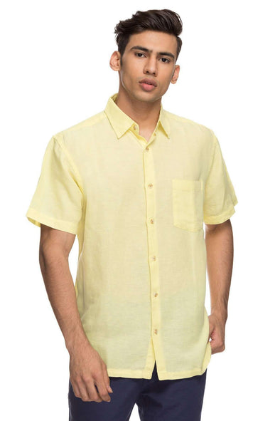 Cottonworld Men's Shirts Mens Half Sleeve Regular Fit 65% Linen Shirts - Lemon