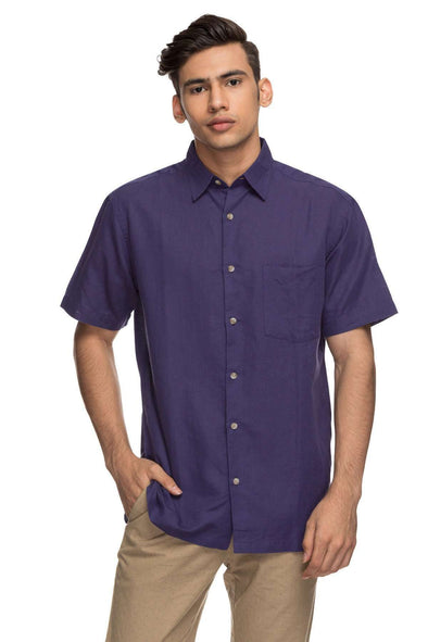 Cottonworld Men's Shirts Mens Half Sleeve Regular Fit 65% Linen Shirts - Purple