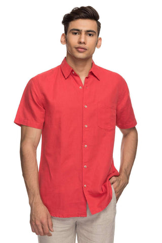 Cottonworld Men's Shirts Mens Half Sleeve Regular Fit 65% Linen Shirts - Red