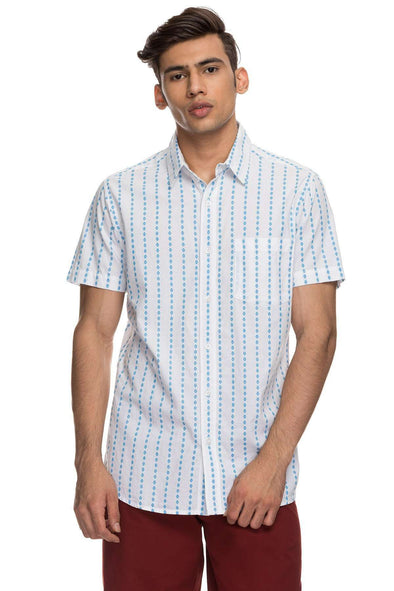 Cottonworld Men's Shirts Mens Half Sleeve Slim Fit 100% Cotton Shirts - Sky