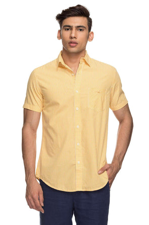 Cottonworld Men's Shirts Mens Half Sleeve Slim Fit 100% Cotton Shirts - Yellow