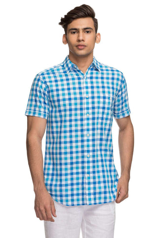 Cottonworld Men's Shirts Mens Half Sleeve With Contrast Inside Slv Hem.  Regular Fit 100% Cotton Shirts - Blue