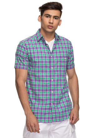 Mens Half Sleeve With Contrast Inside Slv Hem. Regular Fit Cotton Shirt - Purple Cottonworld Men's Shirts