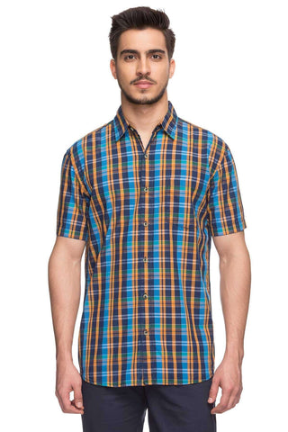 Cottonworld Men's Shirts Mens Half Sleeves Regular Fit 100% Cotton Check Shirts