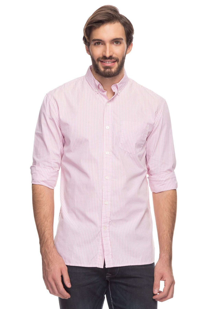 Cottonworld Men's Shirts Mens Long Sleeve Regular Fit Button Down Gingham Checked Shirt