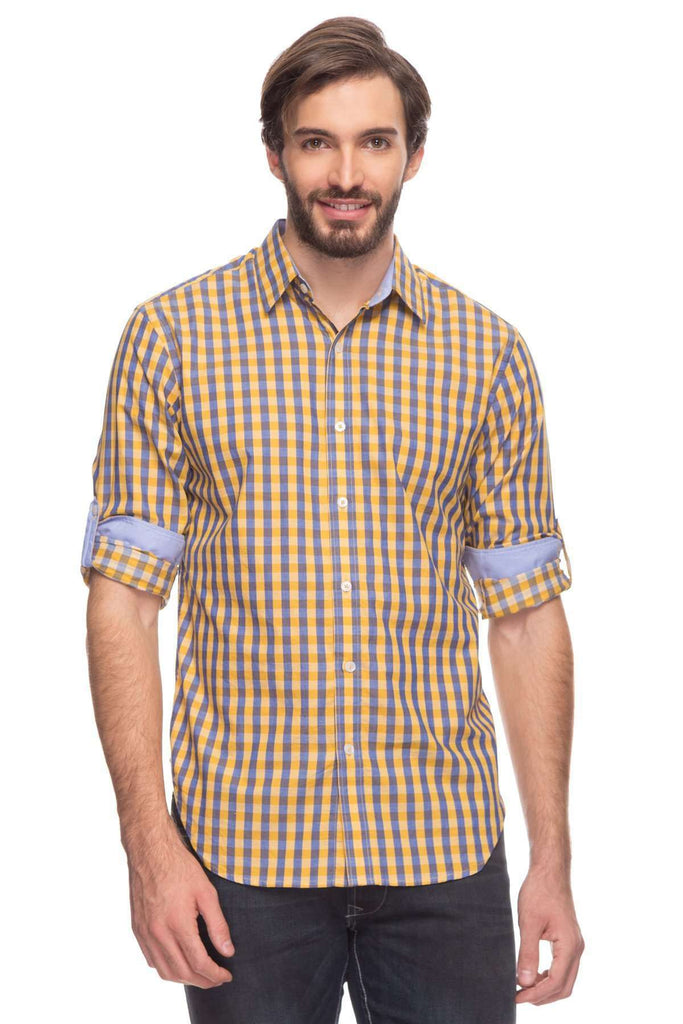 Cottonworld Men's Shirts Mens Long Sleeve Regular Fit Gingham Checked Roll Up Shirt With Contrast Fabric
