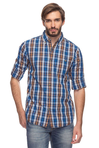 Cottonworld Men's Shirts Mens Long Sleeve Regular Fit Peached Poplin Checked Roll Up Shirt