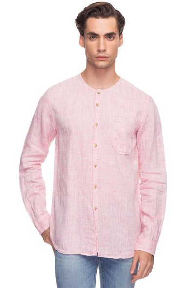 Cottonworld Men's Shirts Mens Long Sleeve Regular Fit Pure Linen Band Collar Rose Shirt